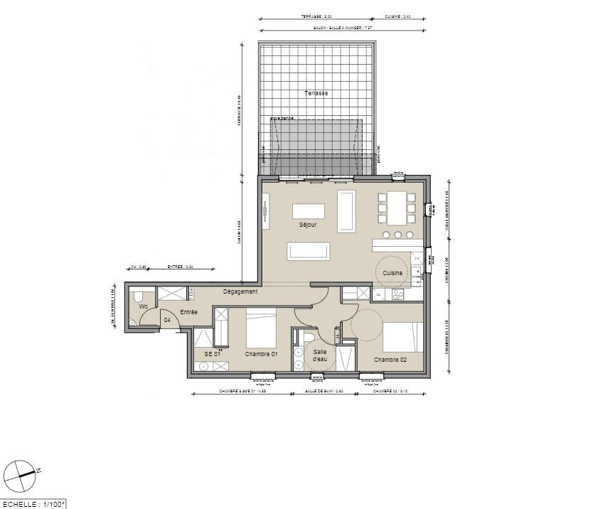 Plan T3 appartement Badialde