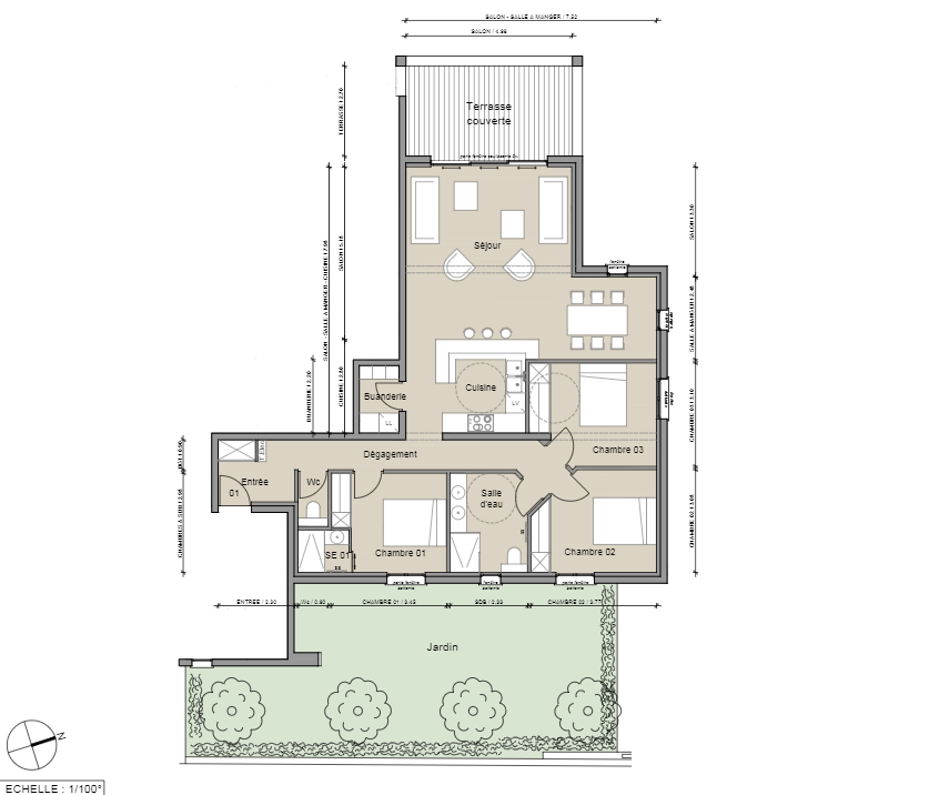 Exemple plan appartement T4